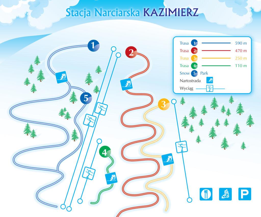 Mapa - trasy zjazdów stacja narciarska Kazimierz Dolny